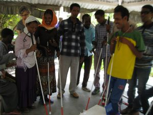 Pam with the blind students (7)